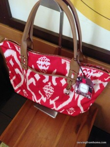 How Does She Do It red Ikat bag
