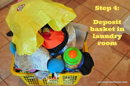 deposit basket in laundry room