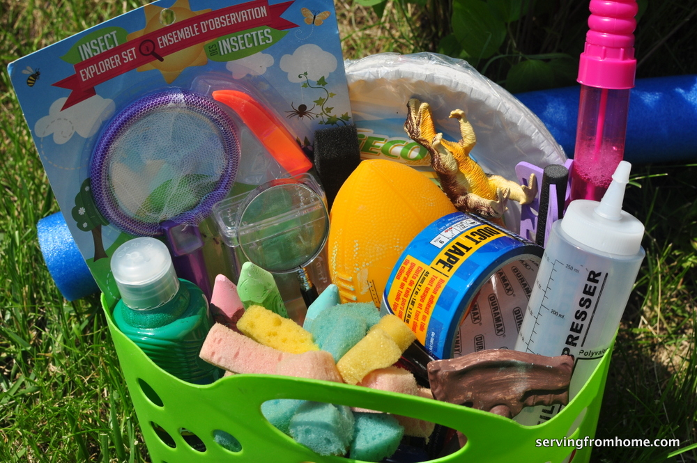 Summer bucket of fun supplies