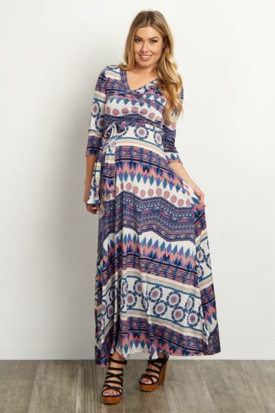tribal-maternity-nursing-wrap-dress-pink-blush